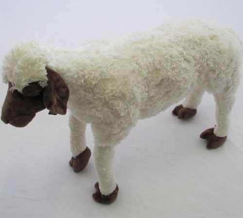 28 INCH LONG BROWN FACE PLUSH SHEEP WITH VOICEBOX