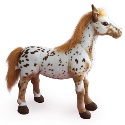 36 INCH LONG BROWN SPOT SIT ON PLUSH TOY HORSE