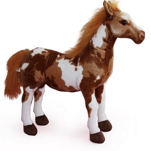 30 INCH LONG BROWN APPALOOSA SIT ON PLUSH TOY HORSE