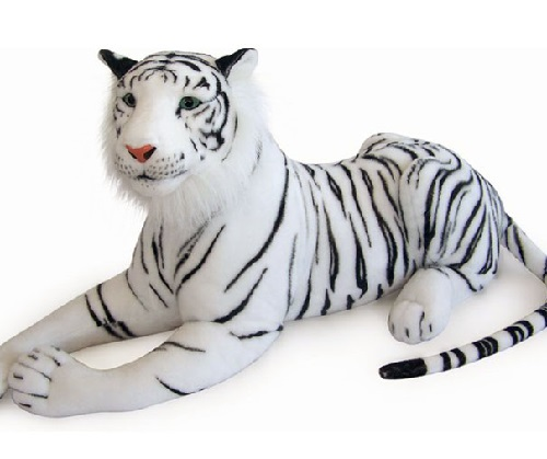 46 INCH LONG PLUSH WHITE LAYING TOY TIGER