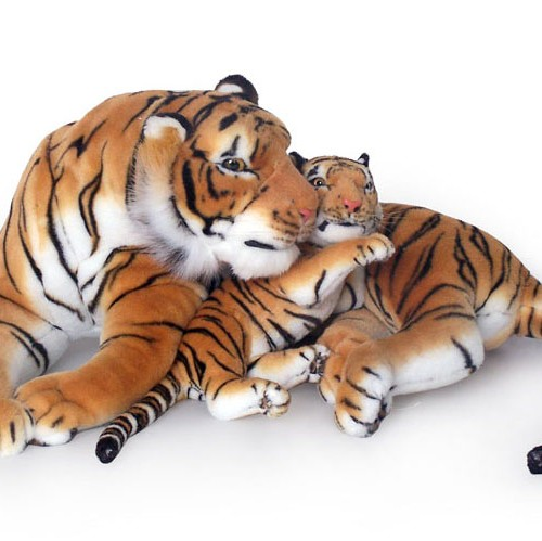 30 INCH LONG PLUSH BROWN LAYING TIGER WITH 14 INCH CUB