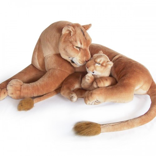 30 INCH LONG PLUSH LAYING LIONESS WITH 14 INCH CUB (PRE ORDER)