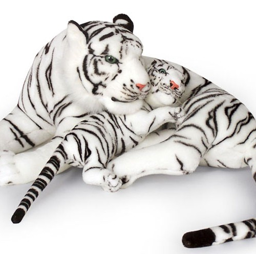 30 INCH LONG PLUSH WHITE LAYING TIGER WITH 14 INCH CUB