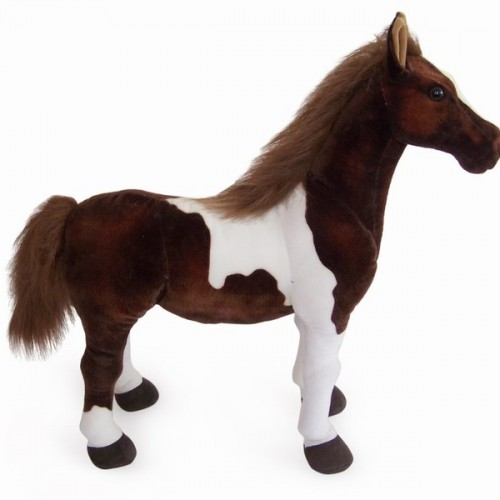 10 INCH LONG BROWN & WHITE PLUSH TOY HORSE