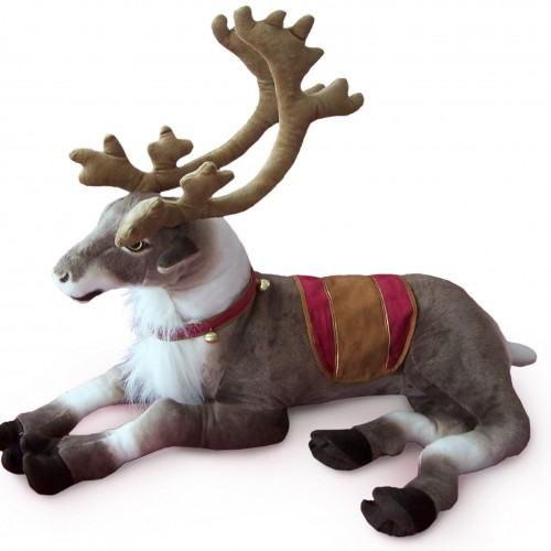 30 INCH LONG PLUSH LAYING TOY REINDEER WITH BELLS