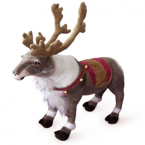 18 INCH LONG PLUSH STANDING TOY REINDEER WITH BELLS