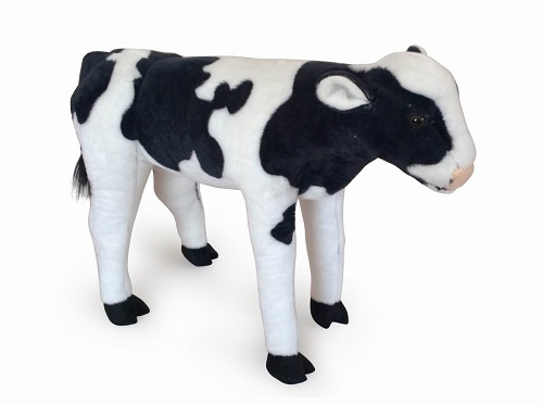 26 INCH LONG BLACK PLUSH CALF/COW