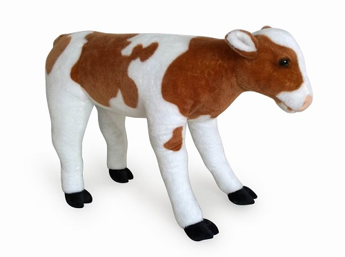 31 INCH LONG BROWN SIT ON PLUSH CALF/COW TOY