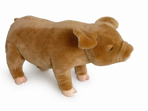 28 INCH LONG STANDING CREAM TOY PIG
