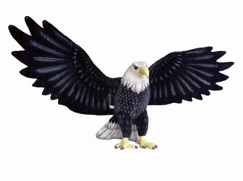 16 INCH HIGH PLUSH BLACK EAGLE WITH 48 INCH WINGSPAN