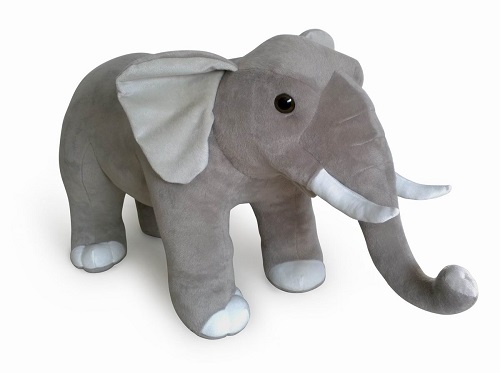 30 INCH LONG STANDING PLUSH GREY ELEPHANT
