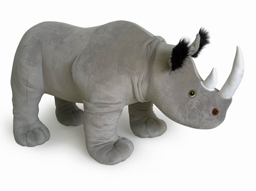 34 INCH LONG STANDING PLUSH GREY RHINO