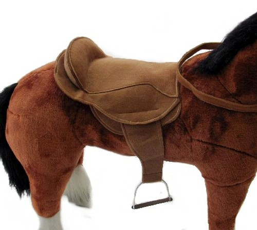 30 INCH HORSE SADDLE & REINS SET BROWN (METAL STIRRUPS)