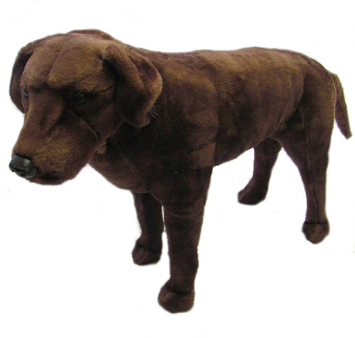 32 INCH LONG PLUSH STANDING CHOCOLATE LABRADOR DOG