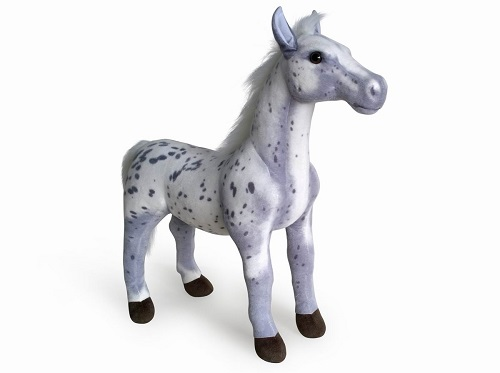 30 INCH LONG GREY SPOT SIT ON PLUSH TOY HORSE