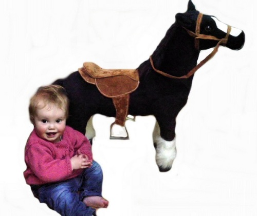 30 INCH LONG BLACK SIT ON PLUSH TOY HORSE