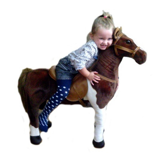 36 INCH LONG BROWN & WHITE SIT ON PLUSH TOY HORSE
